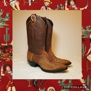 Vintage Tony Lama Brown Leather Boots 6.5